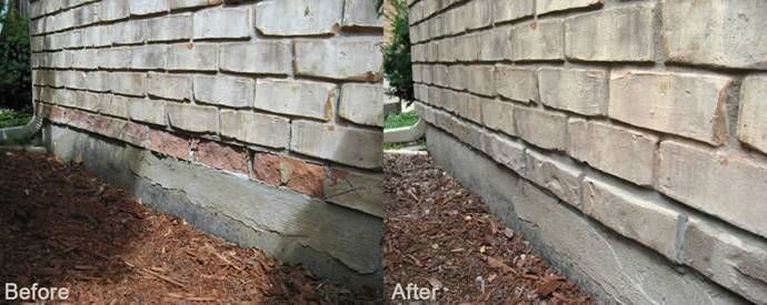 view of a brick wall before and after repair