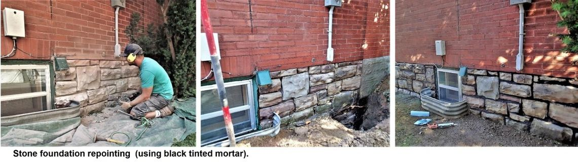 stone wall repair work