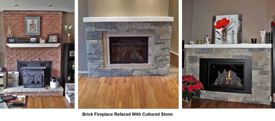 collage of fireplace restoration