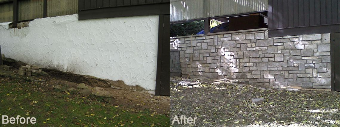 Stucco wall replaced with stone wall